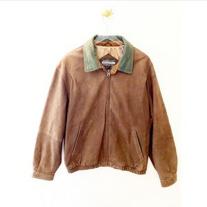 members only / brown men's leather bomber jacket